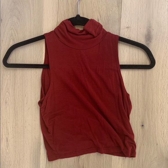 Maroon cropped high neck top